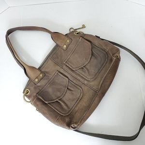 Fossil Shoulder Bags Brown Leather Hand Bag Key